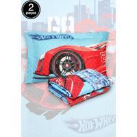 Kit 2Pçs Colcha Quilt Solteiro Lepper Hot Wheels Azul