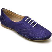 Sapato Oxford Q&A Camurça Feminino - Feminino-Roxo