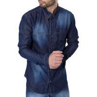 ebb1358c49 Camisa Jeans Manga Longa Masculina Azul