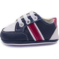 Sapato Bebê Cla Cle Cc Be08 Azul/Branco/Vermelho