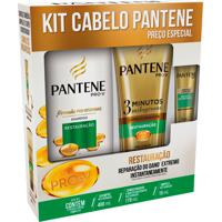 Kit Pantene Shampoo Restauração 400Ml + Condicionador 3 Minutos Milagrosos 170Ml + Ampola 15Ml