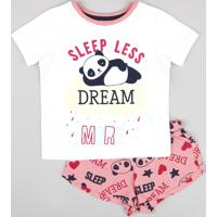 Pijama Infantil Panda Manga Curta Off White