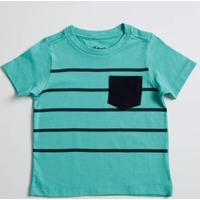Camiseta Infantil Listrada Bolso Manga Curta Marisa