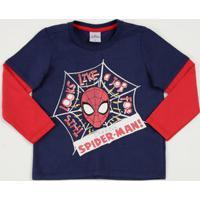 Camiseta Infantil Sobreposição Estampa Homem Aranha Marvel