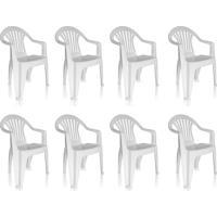 Conjunto Com 8 Cadeiras De Plástico Suprema Unai Branco