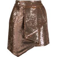 Alexandre Vauthier Inverted Pleat Sequinned Mini Skirt - Dourado