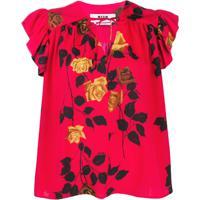 Msgm Blusa Com Estampa De Rosa - Vermelho