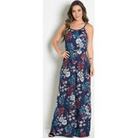 Vestido Longo Com Alças Floral