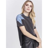 Blusa Com Recortes & ZãPer - Cinza Escuro & Azulpop Up