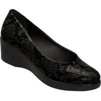Sapato Anabela Animal - Preto- 5,8Cm - Azaleiaazaleia