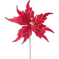 Flor Decorativa Com Brilho- Vermelha & Dourada- 40X2Cromus