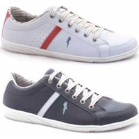 Slip-On Casual Polo Blu Masculino - Masculino-Branco+Preto