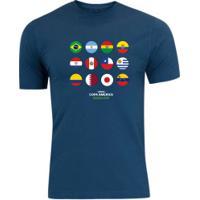Camiseta Adams Básica Futebol - Masculina - Azul Escuro - Bandeiras Copa América 2019 - Azul Escuro