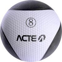 Medicine Ball Com 8 Kilos - Preto & Cinza - Ø28,6Cm