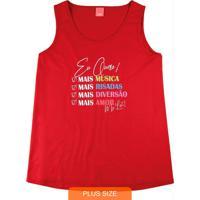 Blusa Vermelha Check List Em Meia Malha