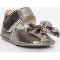 Sapato Boneca Metalizado Com Laço & Strass - Cinza Escurtico Baby