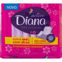 Absorvente Diana Active Mais Proteção Suave Com Abas Com 8 Unidades
