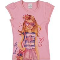 "Blusa ""Fashion Style"" - Rosa & Roxo Escuro- Lecimarlecimar"