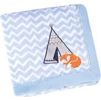 Manta Fleece Raposinha- Azul Claro & Branca- 76X102Clepper