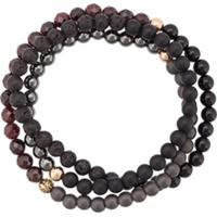 Nialaya Jewelry Pulseira Tripla De Contas - Black