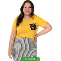 Blusa Com Bolso De Lantejoulas Amarelo