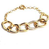 Pulseira Com Elos Largos Elo Central Cravejado Banhado A Ouro - Feminino-Dourado