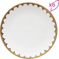 Jogo De Pratos De Jantar Egg- Branco & Dourado- 6Pçswolff
