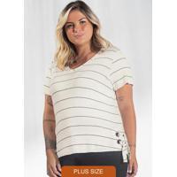 Blusa Plus Size Listrada Secret Glam Bege