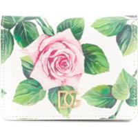 Dolce & Gabbana Carteira Compacta Com Estampa De Rosas - Branco