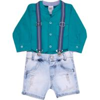 Conjunto Infantil Sonho Mágico Camisa Bermuda Azul