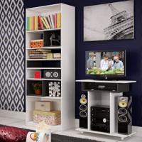 Sala De Estar Completa Com Rack Para Tv Até 32 Polegadas E Estante Siena Móveis Branco/Carvalho