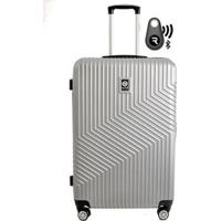 Kit Com Mala De Bordo Geometric E Localizador Bluetooth Reaggio - Com Rodas 360º - Santino - Unissex-Prata