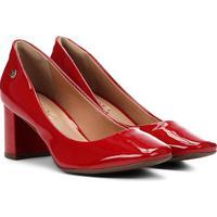 Scarpin Via Uno Salto Médio Bico Quadrado Verniz - Feminino-Vermelho