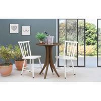 Conjunto Mesa Bistrô Com 2 Cadeiras Redonda Juliette - Nogueira E Branco