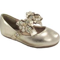 Sapato Boneca Recorte & Pedraria - Dourado- Luluzinluluzinha