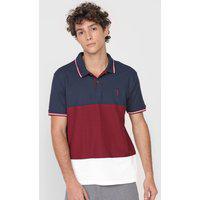 Camisa Polo Aleatory Reta Color Block Azul-Marinho/Vinho