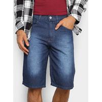 Bermuda Jeans Preston Estonada Masculina - Masculino-Azul