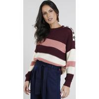 Suéter Feminino Listrado Com Botões Em Tricô Vinho