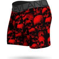 Cueca Boxer Kevland Red Skulls Preto