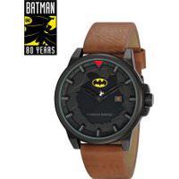Kit De Relógio Analógico Mondaine Batman - A Queda Do Morcego Masculino + Placa Metálica - 32130Gpmgph1 Marrom