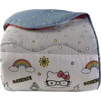 Edredom Hello Kitty® Solteiro- Branco & Azul- 180X24Artex
