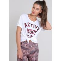 "Blusa Feminina Esportiva Ace Com Estampa Metalizada ""Active Mode"" Branca"
