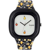 Relógio Hopes Fome Print - Unissex-Preto+Laranja