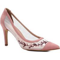 Scarpin Couro Shoestock Salto Alto Tela Bordado - Feminino-Rosa
