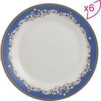 Jogo De Pratos De Sobremesa Cedro- Branco & Azul- 6Pwolff