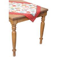 Toalha De Mesa Quadrada Lepper Decorativo Graã§A 75 Cm X 75 Cm Vermelho/Branco - Vermelho - Dafiti