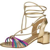 Sandália Salto Grosso Domidona Metalizada Com Tiras Coloridas 116.16.033 - Dourada