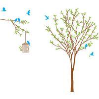 Adesivo De Parede Tree & Bird- Marrom Claro & Verde-Evolux