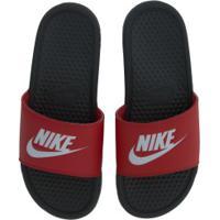 Chinelo Nike Benassi Jdi - Slide - Masculino - Cinza Esc/Vermelho