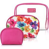 Kit Necessaire De 3 Unidades Jacki Design Microfibra + Pvc - Feminino-Pink